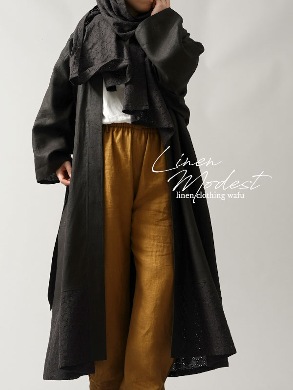 【慎ましい装い】中厚リネン ローブ +ヒジャブ セット モデストファッション modest リネンローブ/ブラック【free】h020a-bck2