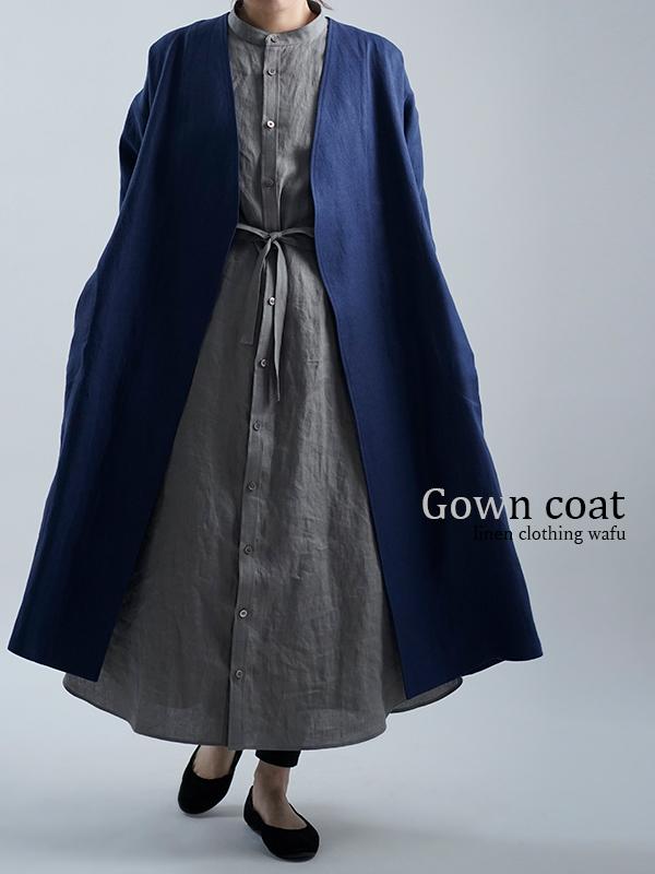 【wafu】wafu premium linen ノーカラーコート / ブルーニュイ h022j-bln2
