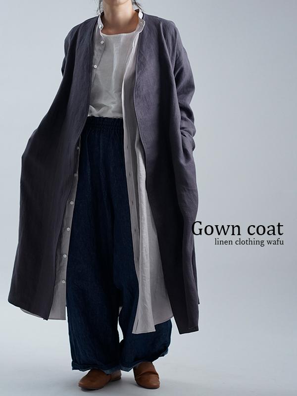 【wafu】wafu premium linen ノーカラーコート / ショードロン h022j-cdn2