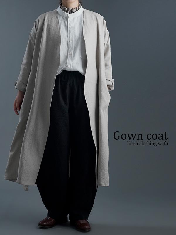 【wafu】wafu premium linen ノーカラーコート / フラックス h022j-flx2