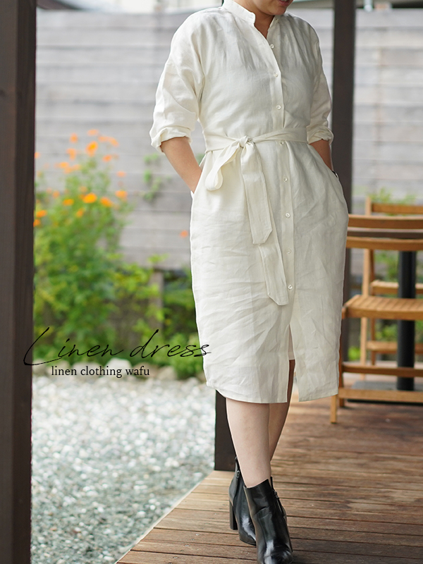 中厚 リネンワンピース 羽織 2WAY 前開き スタンドカラー シャツ ドレス ウエスト紐あり / ホワイト【M】h028a-wht2