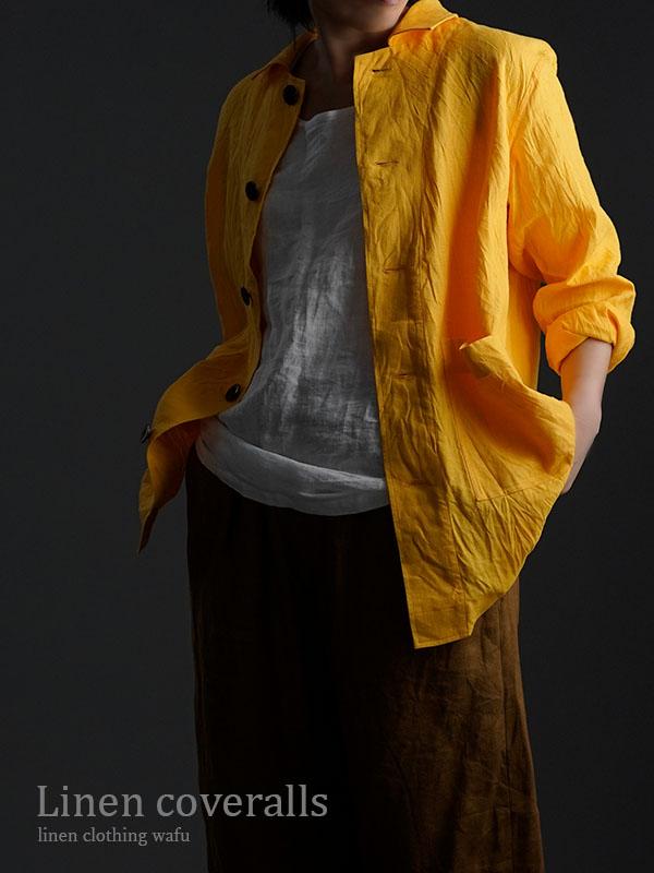 Linen Jacket 数量限定!カバーオール 男女兼用 ハンドワッシャー / ディープサンフラワー h031c-dsf2