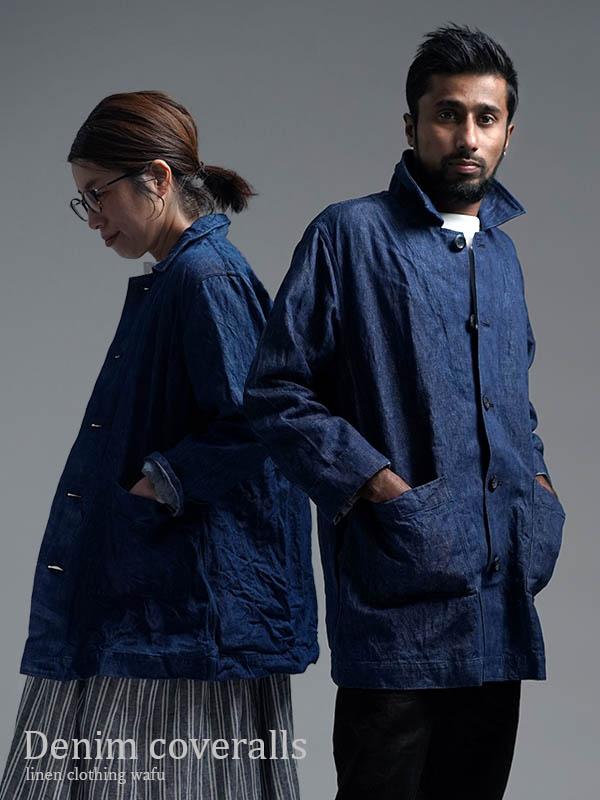【wafu】中厚リネン カバーオール ワークジャケット 色落ちあり/インディゴ h031c-ind3