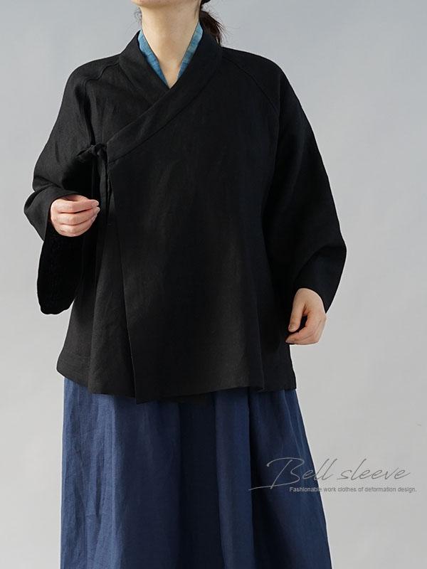 厚地 起毛 リネン 作務衣 和装 禅 羽織 ラグランスリーブ ベルスリーブ リネン カーディガン 男女兼用 / ブラック