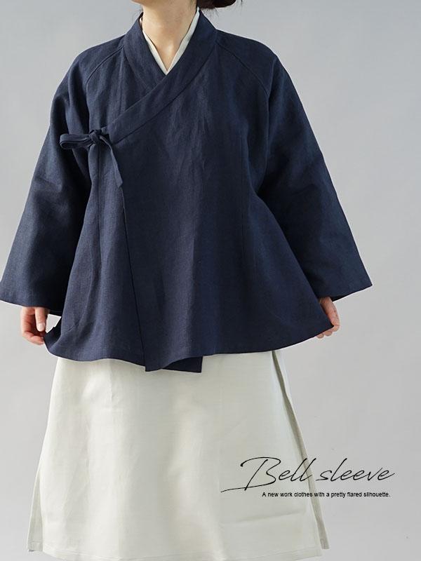 厚地 起毛 リネン 作務衣 和装 禅 羽織 ラグランスリーブ ベルスリーブ リネン カーディガン 男女兼用 / 紺