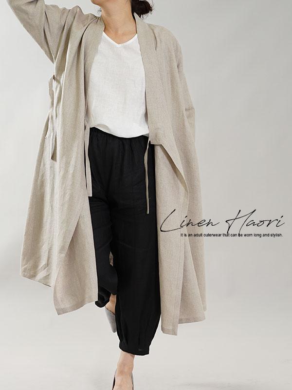 中厚 リネン 禅 羽織 ドルマンスリーブ 着物 和装 襟 ローブ コート 九分袖 ロング / 亜麻ナチュラル