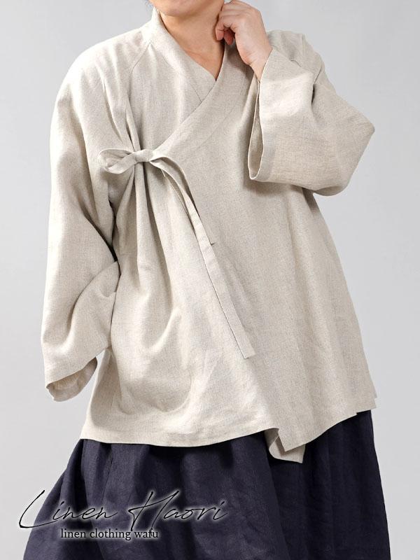 【wafu】中厚 リネン 作務衣 和装 禅 羽織 ラグランスリーブ ベルスリーブ リネン/亜麻ナチュラル【free】h037e-amn2