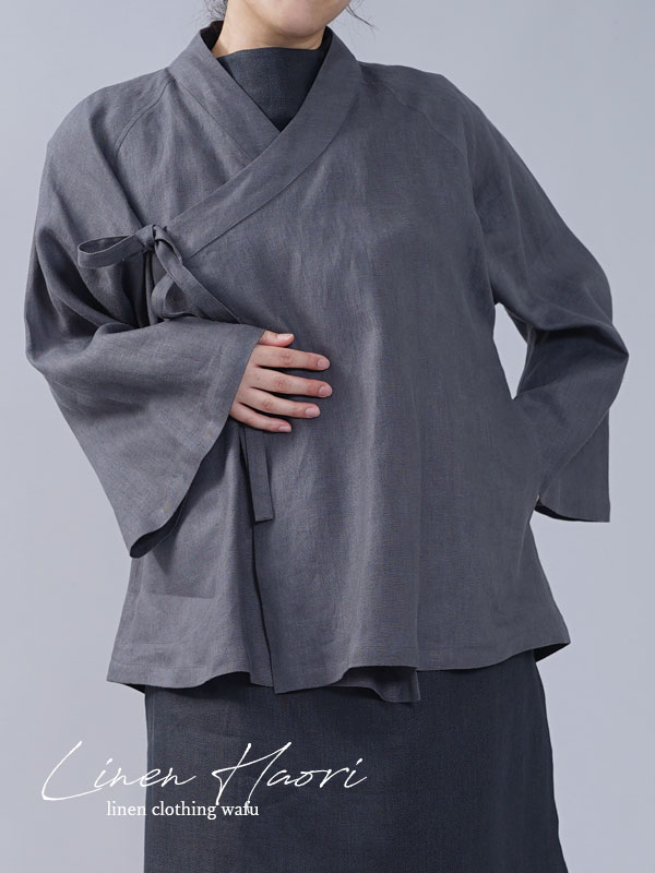 【wafu】中厚 リネン 作務衣 和装 禅 羽織 ラグランスリーブ ベルスリーブ リネン/ディムグレー【free】h037e-dmg2