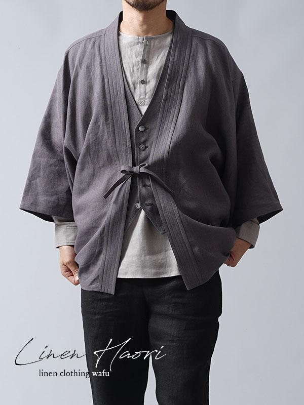 中厚リネン羽織 haori 男女兼用 和装 和服 リネン着物 kimono Haori Jacket ジャケット 先染め/黒橡(くろつるばみ)【free】h037h-ktb2