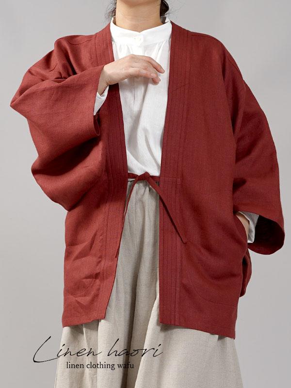 【wafu】中厚リネン羽織 haori 男女兼用 和装 和服 リネン着物 kimono Jacket/蘇芳(すおう)【free】h037h-suh2