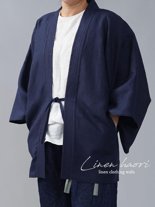 【wafu】中厚リネン羽織 男女兼用 和装 和服 リネン着物 kimono Haori Jacket/鉄紺(てつこん)【free】h037h-ttk2