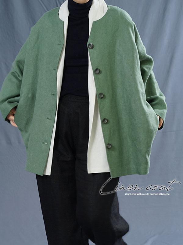 サフィランリネン シャツ専用ジャケット 総裏地 雅亜麻 コート ドロップショルダー 長袖 /蒼色 h042c-sou3