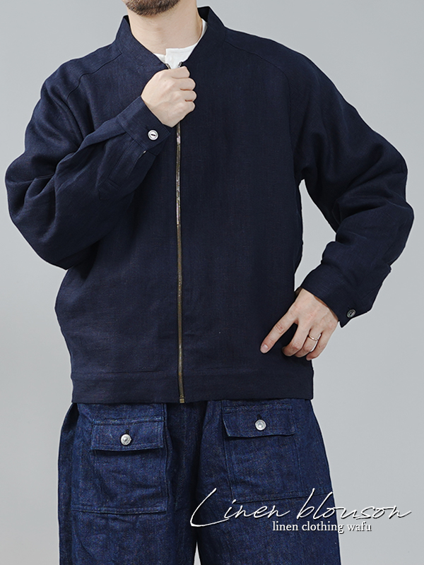 中厚 リネン MA-1 ジャケット 2重仕立て ブルゾン 羽織り 内ポケットあり/ネイビー【M-L】h048b-neb2-m