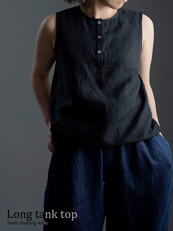 【wafu】雅亜麻  Linen Top   ヘンリーネック   ロング丈   インナーとしても / 黒色 p011a-bck1