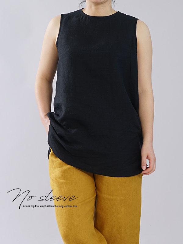 薄地 雅亜麻 リネン インナー ペチコート ペチ ペチタンク ノースリーブ 下着にも ロング丈 裾/黒色【M-L】p011b-bck1
