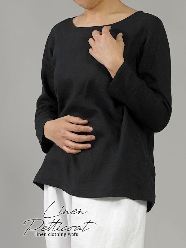 雅亜麻リネン インナー ブラウス 袖スリット 黄金比率のネック角度/黒色(くろいろ)p012a-bck1