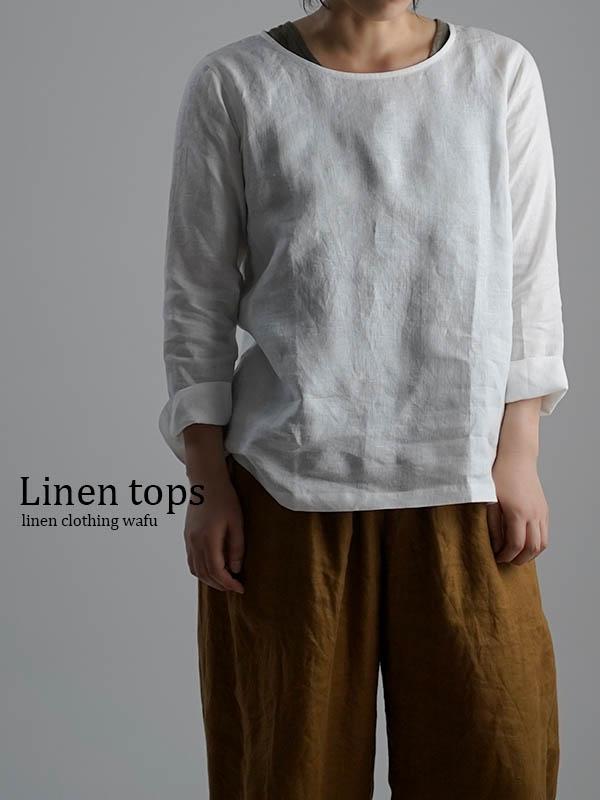 雅亜麻 Linen Top インナー ブラウス 黄金比率のネック角度/白色(しろいろ)p012a-wht1