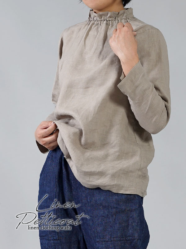 【wafu】雅亜麻 リネン タートル ネック インナー 袖スリット コーデの幅が広く万能に使えます。/はしばみいろ p014a-hbm1