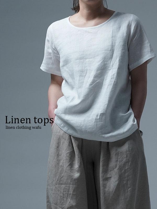 雅亜麻リネンTシャツ インナー リネンブラウス ペチコートにも 半袖 丸首 T-shirt /白色 p015a-wht1