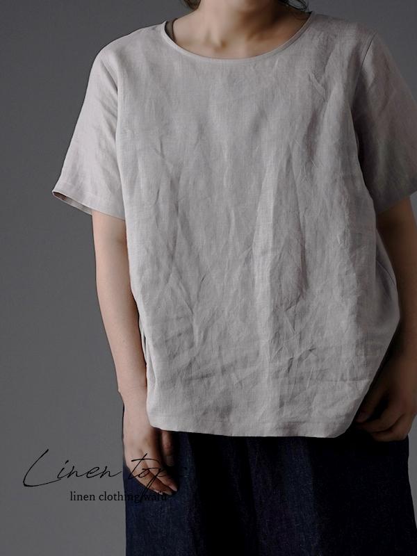 【wafu 入門編】 リネンTシャツ シンプル 丸首 トップス / 灰桜(はいざくら) p015b-hzk1*k