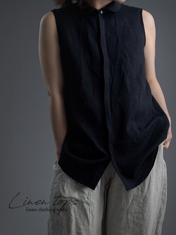 【wafu】雅亜麻 linen shirt  丸襟 比翼 シャツ /黒色 p018a-bck1