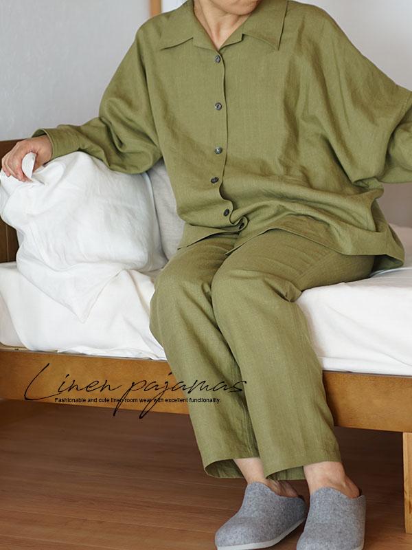 中厚 リネン パジャマ 寝間着 ナイトウェア ルームウェア 長袖 上下セット 天然素材 オープンカラー / グラスグリーン