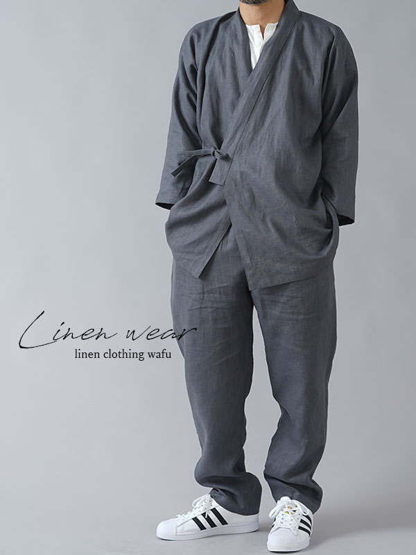 【wafu入門編】25着限定! 作務衣 上下セット 和装 禅 羽織 リネンカーデ カーディガン japan kimono wasou/ディムグレー r008j-dmg2