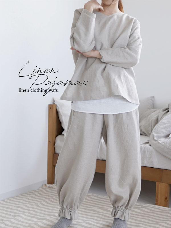 【wafu】中厚リネン 2wey パジャマ ルームウェア Vネック 丸首 /亜麻ナチュラル【free】r011a-mn2