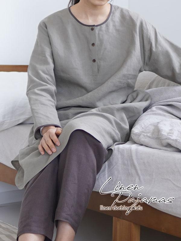 【wafu】やや薄 リネン ルームウェア パジャマ  ワンピース+パンツセット/利休色×樺茶色 r011a-rku1