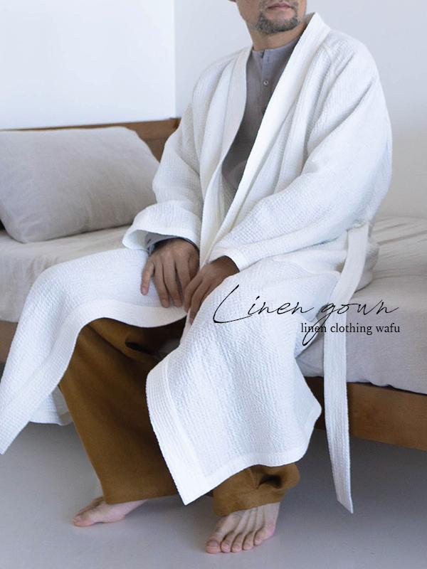 ワッフル リネン ガウン linenローブ /ホワイト r012b-wht3
