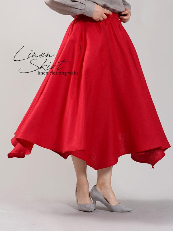 【wafu】中厚 リネン イレギュラーヘムスカート フレアースカート4枚はぎのリネンスカート/レッド【free】s002g-red2