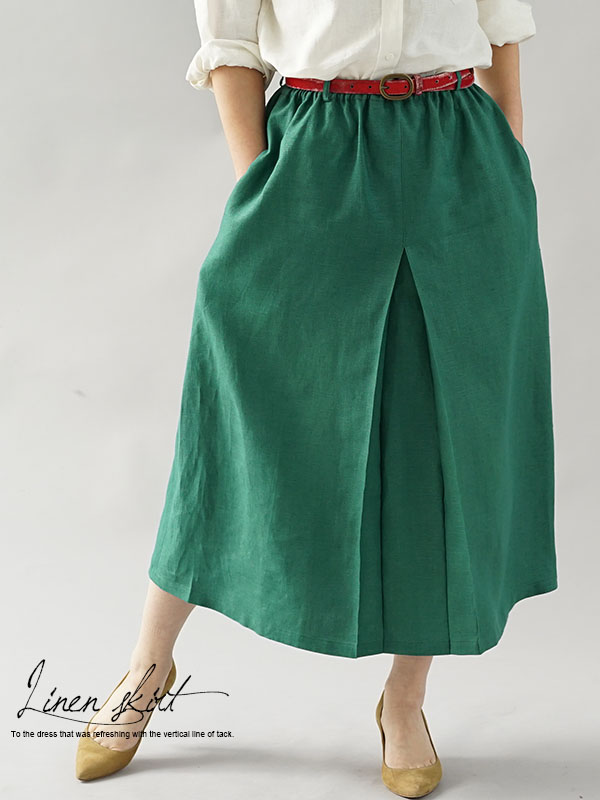 中厚 リネン スカート フロントプリーツ ダブルゴム / エンパイアグリーン