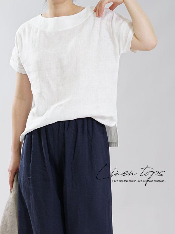 薄地 リトアニアリネン Tシャツ トップス ドロップショルダー 半袖 ブラウス / ホワイト