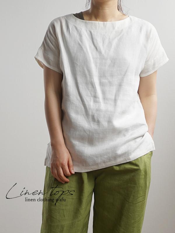 中厚 リネンブラウス ドロップショルダー Tシャツ トップス / ホワイト t001f-wht2