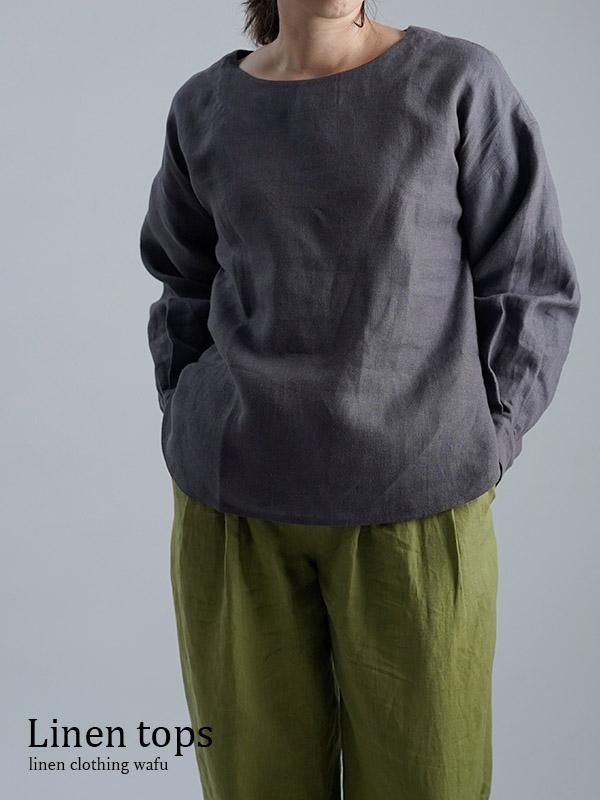 Linen Top カフス ブラウス / 黒橡(くろつるばみ) t001k-ktb2