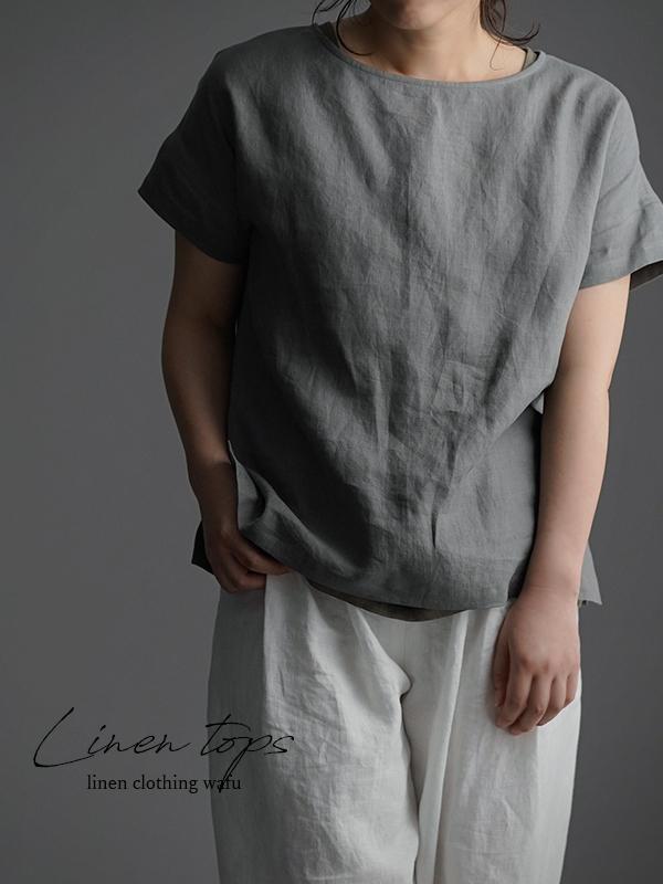 やや薄 リネンブラウス ドロップショルダー Tシャツ トップス t001l-nib1