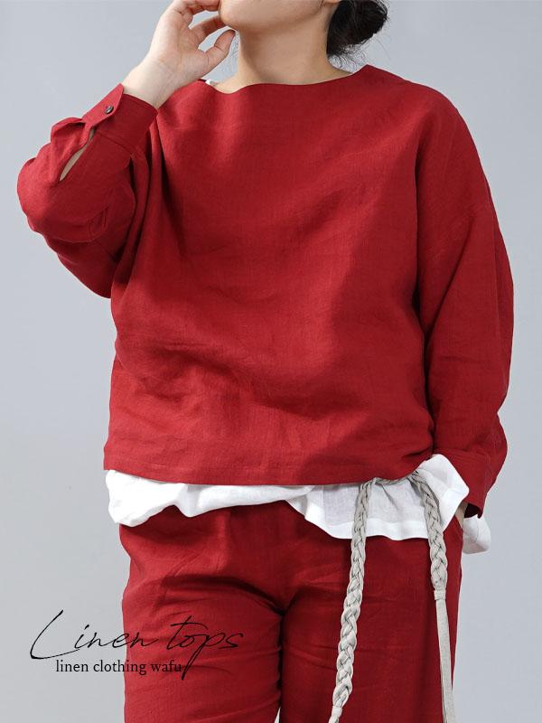 【wafu】薄地 雅亜麻 リネン ブラウス カフスシャツ 袖 ドロップショルダー トップス チュニック/紅色【free】t002a-bne1
