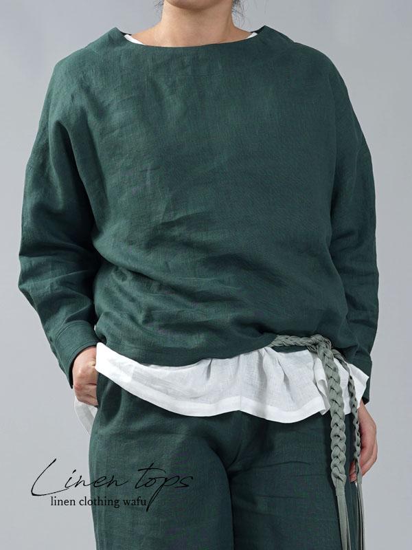 【wafu】薄地 雅亜麻 リネン ブラウス カフスシャツ 袖 ドロップショルダー トップス/高麗納戸(こうらいなんど)【free】t002a-kou1