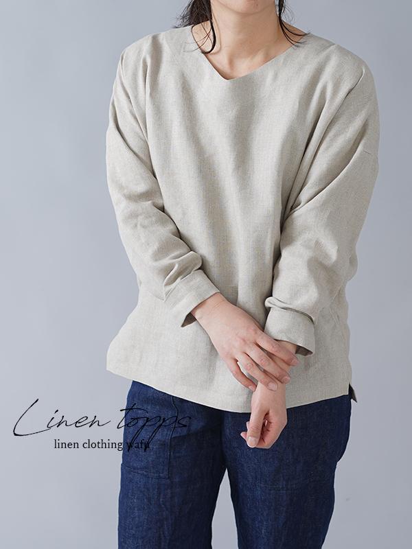 【wafu】中厚 トップス Vネック スリット ドルマン カフス袖/亜麻ナチュラル t002i-amn2