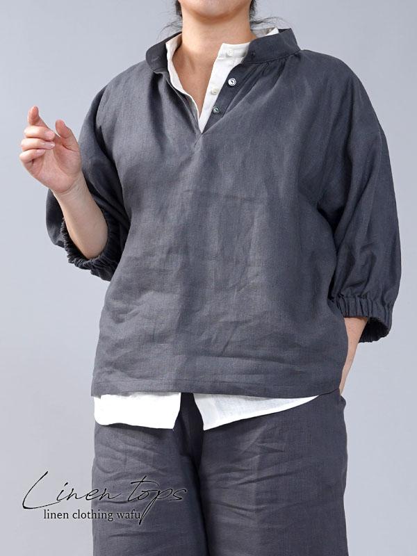【wafu】中厚 リネン ブラウス ふんわりスタンドカラー ドロップショルダー/ディムグレー【M-L】t005a-dmg2