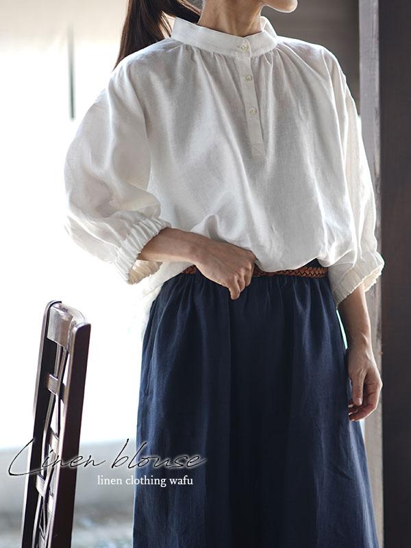 中厚 リネン ブラウス ふんわりスタンドカラー ドロップショルダー シャツチュニック / ホワイト【M-L】t005a-wht2