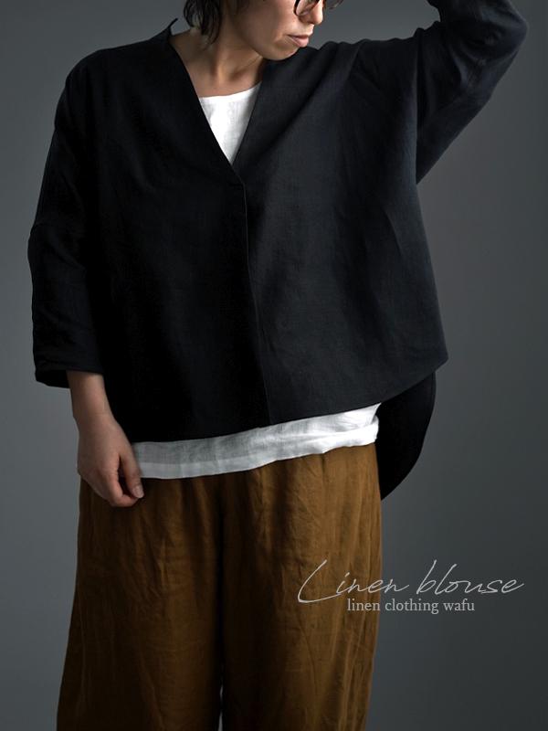 Linen Skipper Top スタンドカラーブラウス /黒色 t005e-bck1