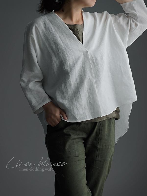やや薄 リネン スキッパーシャツ チュニック t005e-wht1