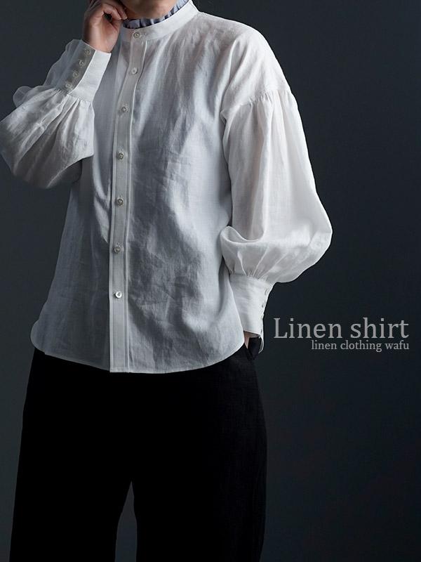 Linen Shirt ランタンスリーブシャツ / 白色 t007c-wht1