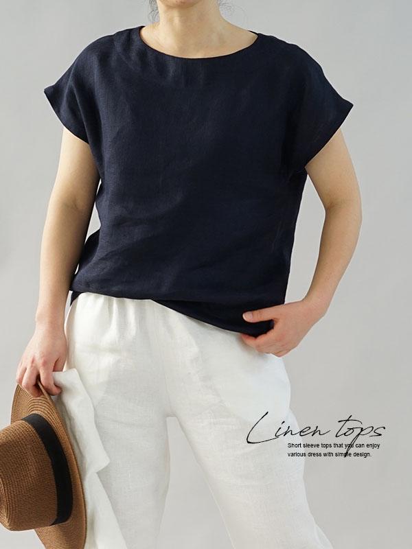 中厚 リネン ブラウス ふんわり リネンlinen100% Wガーゼ フレンチスリーブ Tシャツ 半袖 トップス / ダークネイビー