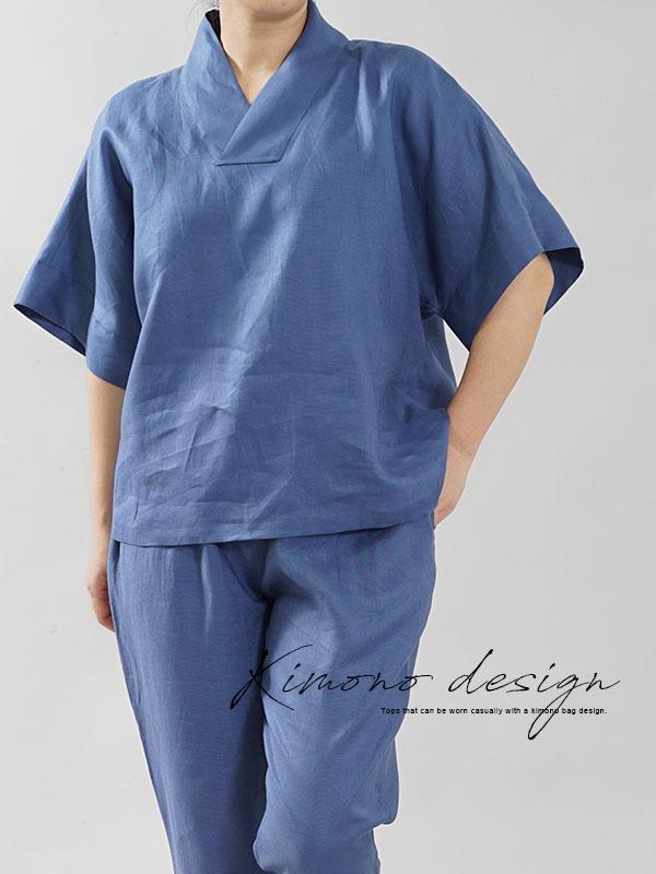 薄地 リネン ブラウス 禅 着物襟 和装ドルマンスリーブ リネン100% ざっくり5部袖 リネン チュニック トップス / セルリアンブルー
