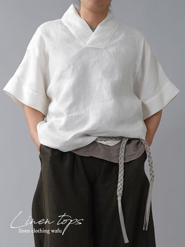 【wafu】中厚 リネン 着物襟 ブラウス トップス 禅 リネン100% ドルマンスリーブ 半袖 ゆったり袖/ホワイト【free】t010c-wht2