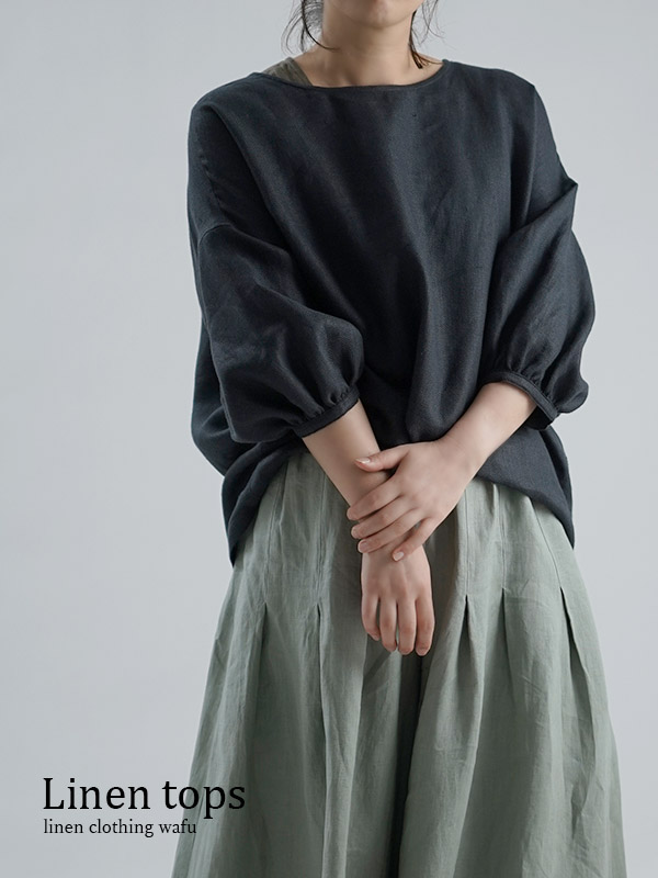 【wafu】Linen Top ふんわり袖ガゼットブラウス /ミッドナイトネイビー t011d-mne2