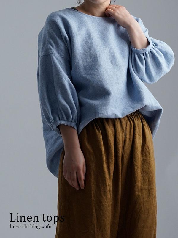 Linen Top 表面起毛 ふんわり袖 ガゼットブラウス /水色 t011f-blu2