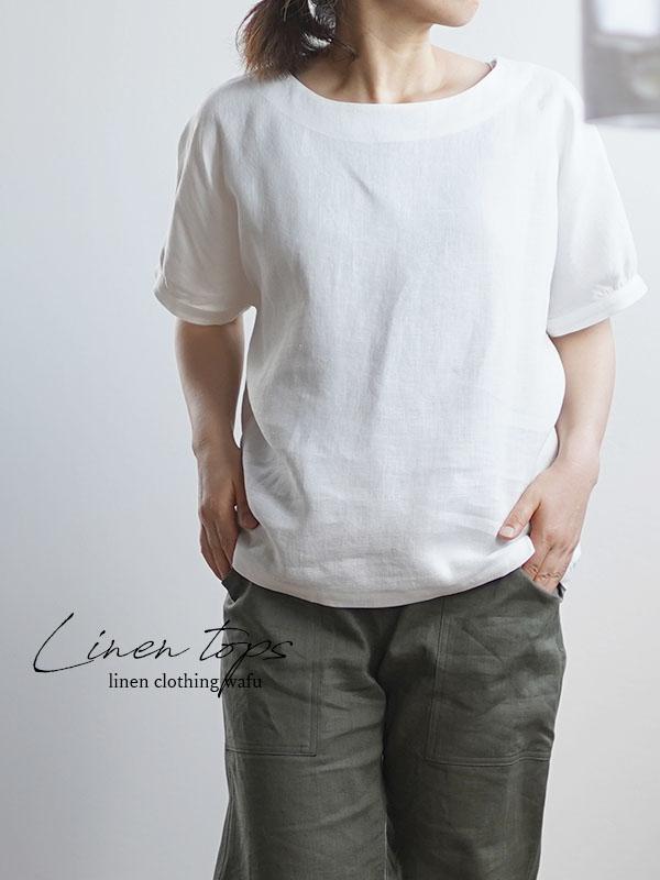 中厚 リネンブラウス ドルマンスリーブ チュニック トップス Tシャツ / ホワイト t012a-wht2